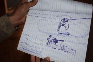 Kinderzeichnung eines IS-Kalifats-Rekruten, Photo: sputnik news