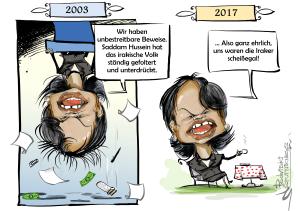 C. Rice zur Irak-Invasion 2003, Karikatur: Sputnik News