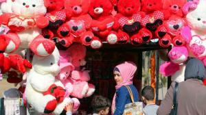 Geschäft in Bagdad mit Valentinstagsartikeln, Photo: AFP