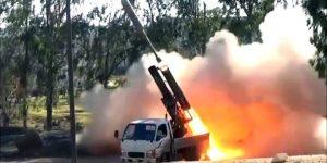 Beispiel eines (mit artillerie) aufgerüsteten Kampfwagens der Terroristen in Aktion, Photo: SANA