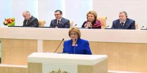 Parlamentspräsidentin Dr. Hadiyya ʽAbbâs vor dem russischen Föderationsrat, Photo: SANA