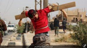 Kreuzigung durch IS in al-Bû Kamâl (aus der Vergangenheit), Abb.: Twitter
