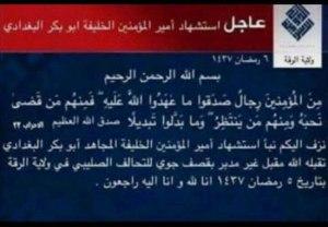 IS-Trauer-Statement über Tod des