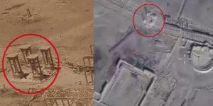 Zerstörtes Tetrapylon von Palmyra, Photo: SANA