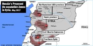 Vorgeschlagene 4 De-Eskalationszonen, Abbildung: syrianfreepress
