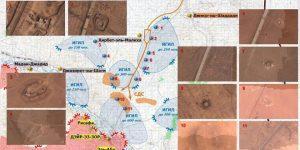 Luftaufnahmen der US-Gerätschaften im N von Dair az-Zaur, Photos: SANA