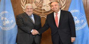 Bedeutsamer Handschlag zwischen A. Guterres und W. Mu'alllim in New York, Photo: SANA