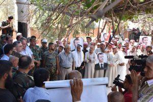 Rekonziliierungskundgebung des Ministers im Rîf ar-Raqqa, Photo: SANA