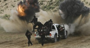 Kampfwagen der Terroristen, Photo:, AP