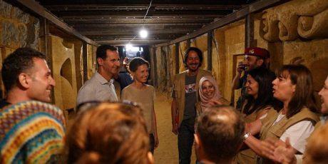 Präsident Dr. al-Assad und Frau besichtigen Kunstprojekt im Ğaubar-Tunnel in Ost-al-Ġûṭa, Photo: SANA